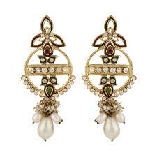 golden ear rings images Traditional earrings indian jewellery polki earrings antique jpg