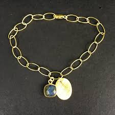 gold tag bracelet images Loose link bracelet with labradorite pendant and gold tag snow JPG