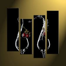 4 piece wine black canvas photography
