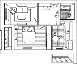 hand drawn vector illustration of a two bedroom apartment 3d plan