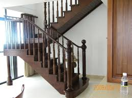 Grills Stairs Design Sprial Stainless Steel Handle Design Interior Wood Stair View