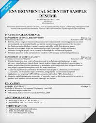 Biologist Resume Sample by Environmental Scientist Resume Example Http Resumecompanion
