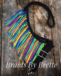 Barrel Racing Home Decor by Barrel Racing Reins Rainbow And Black Fringe Reins Paracord