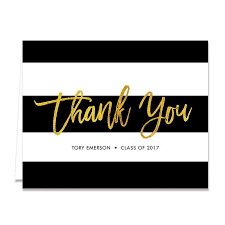 graduation thank you card graduation thank you card black white gold foil digibuddha