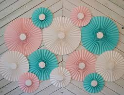 white paper fans pink white and aqua set of twelve 12 paper rosettes