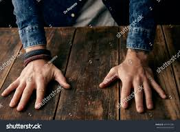 beautiful men hands on table jeans stock photo 347741330