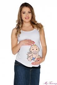 tehotenska moda těhotenské tílko bílé chlapeček my tummy elegantní a