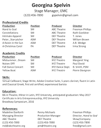 theater resume sample stage manager resume template resume sample this is what a good the standard stage manager resume format sample stage management resume