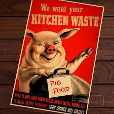 affiche cuisine retro mignon nous voulez votre cuisine déchets alimentaires des porcs