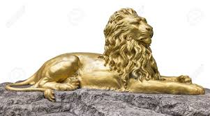 gold lion statue gold sculpture statue of a lion stock photo picture and royalty