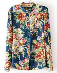 floral blouse blue sleeve floral chiffon blouse sheinside com my style