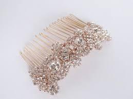 Sale Rose Gold Bridal Hair b Rhinestone Wedding Hair b