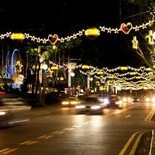 street of singapore with christmas lights and decorations stock