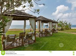 beautiful bungalows beautiful bungalows for relaxation on the sea beach stock photo