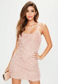 dress pink pink strappy fringe bodycon dress missguided