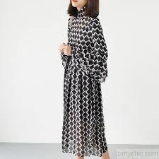 chiffon maxi dress black high neck chiffon maxi dresses print fabric sleeve dresses1 jpg