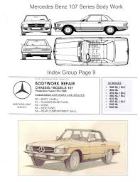 mercedes benz 107 bodywork and frame manual on cd 380 380sl 450