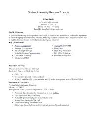 sample internship resume for college students resume examples