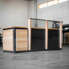 ash wood and roll steel reception desk real industrial edge