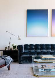 velvet tufted sofa in blue simplified bee