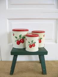 vintage canister set metal canister set apple canisters