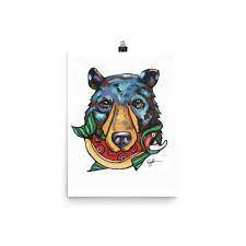 bear with salmon art canadian black bear home decor art