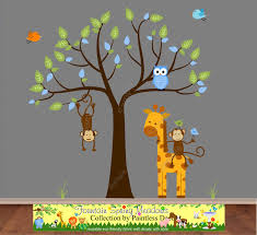 Giraffe Wall Decals For Nursery Jungle Monkeys And Giraffe Wall Decal Sticker S25b Jungle