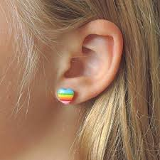 invisible earrings rainbow heart hypoallergenic earrings plastic posts or invisible