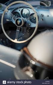 porsche speedster interior steering wheel and interior of a vintage porsche 550 spyder sports