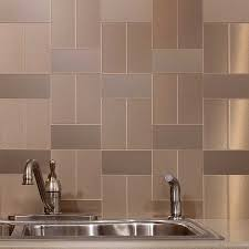 archaic silver color metal tile kitchen backsplash featuring grid