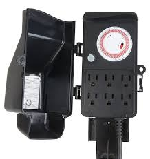 Tork Plug In Timers Dimmers westek tm16dolb six outlet outdoor stake timer wall timer