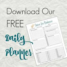 Life Planning Worksheet Download Our Free Daily Planner Strive For Balance