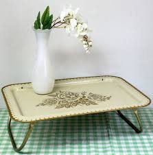 Bed Trays With Legs Vintage Tv Tray Metal Tv Lap Tray Breakfast By Millycatvintage