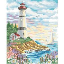 side lighthouse u0026 schoonerhome decor diy acrylic oil paint by