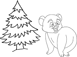 coloring a bear next to a christmas tree picture