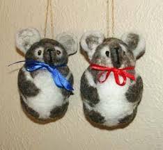 felted ornamental pandas koalas cats bats fish sea otter