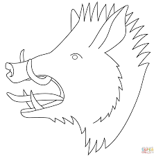 wild boar head coloring page free printable coloring pages