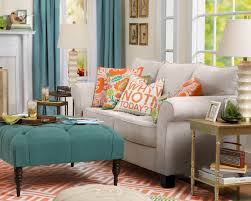 tufted ottoman coffee table in retro living room with turquoise