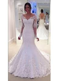 elegant sleeves mermaid lace off the shoulder long wedding dresses