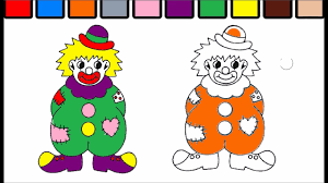 learn colors for kids and color clown coloring page pt 111 youtube
