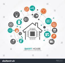 smart home control concept smart house stock vector 565290427