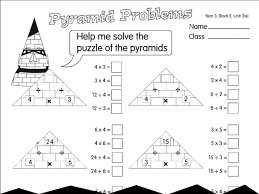 pyramid problems a year 3 division worksheet