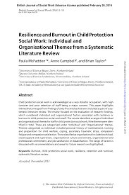 resilience and burnout in child protection social work individual