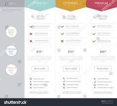 Table Ux by Three Tariffs Interface Site Ui Ux Stock Vector 276572702
