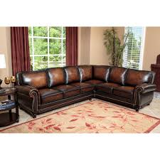 Leather Furniture Abbyson Tekana Premium Italian Leather Sectional Sofa Dark Brown