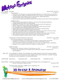 Coordinator Sample Resume 3d Animation Artist Resume Virtren Com