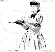 vintage martini clipart clipart retro vintage black and white woman carrying a food
