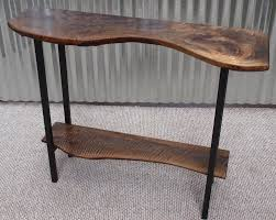 Metal Entry Table Live Edge Oregon Black Walnut Entry Table With Metal Base Custom