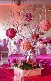 Tree Branch Centerpiece by Balls Of Gorgeous Flowers Attached To Branches Is A Different Take