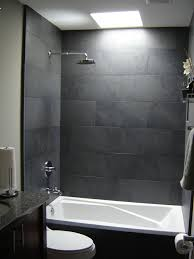 Gray Tile Bathroom - gray bathroom tile ideas large grey tiles with small detail strip